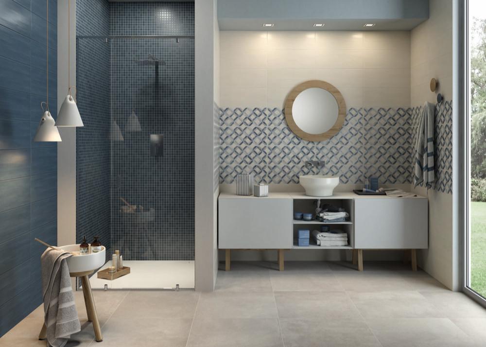 Marazzi Paint-Wandfliese-Mosaik-Dekor-Bianco-Blu