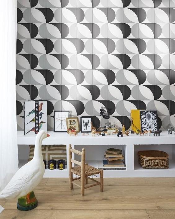 Marazzi-Scenario-tappeto 2a Nero-Dekorfliese-retro-modern-grafik