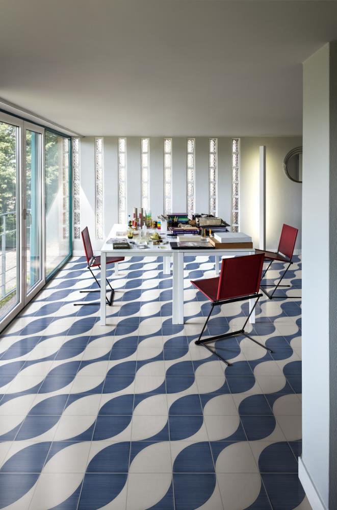 Marazzi-Scenario-tappeto 2a Blu-Dekorfliese-retro-modern-grafik-verlegemuster