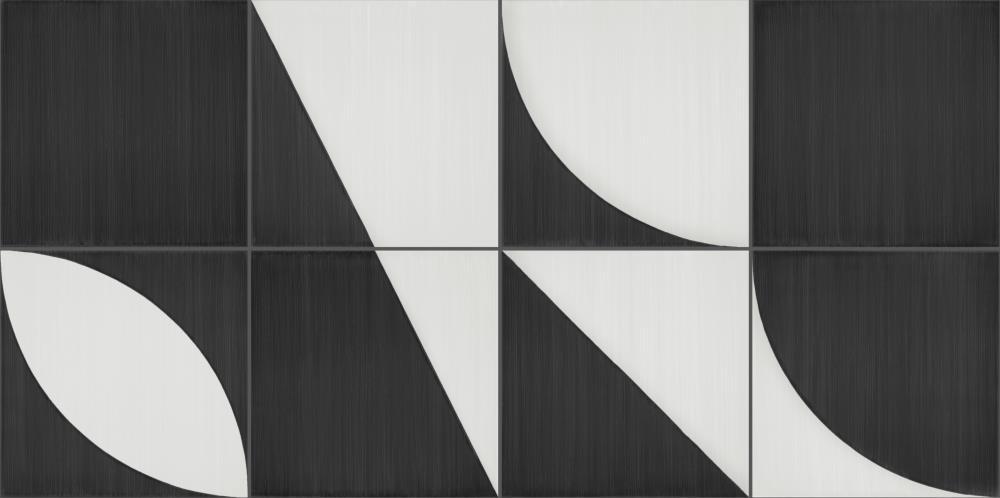 Marazzi-Scenario-Decoro Mix-Nero -Dekorfliese-retro-modern-grafik