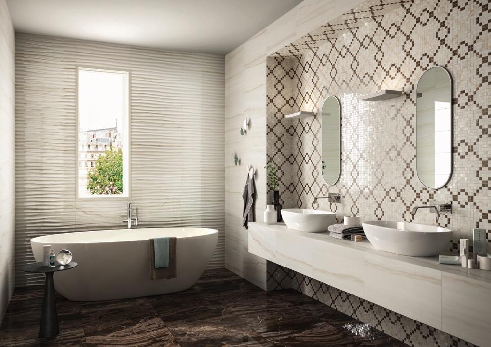 marazzi-elegance-wandfliese-marmor optik-glänzend-barocco-wellen muster-dekor-strukturiert-elegant-mosaik-design-allmarble-bodenfliese-feinsteinzeug-durchgefärbt-lux-naturale-matt-edel