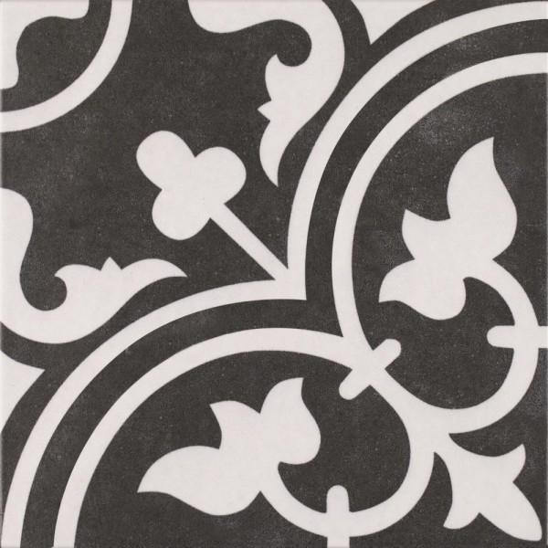 Musterfliesenstück für FKEU Histori Dekor Schwarz Dekorfliese 25X25/0,95 R9 Art.-Nr. FKEU0992057